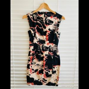 French Connection Black + Coral Print Dress